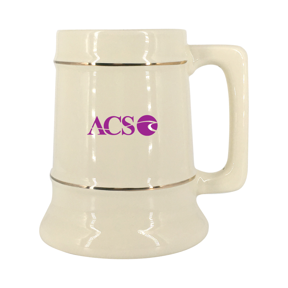 28 oz. Natural Stein Mug with Gold Bands Thumbnail