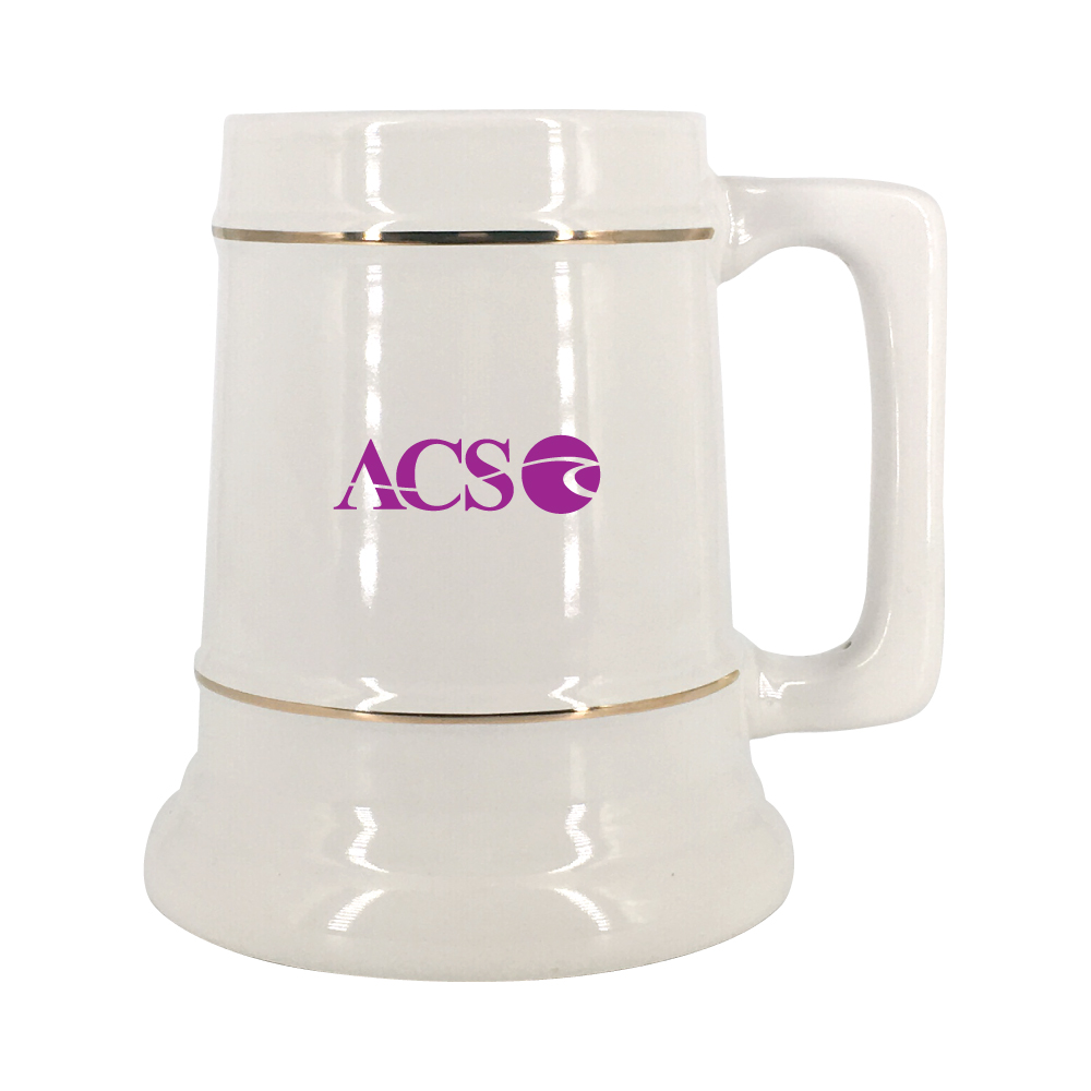 28 oz. White Stein Mug with Gold Bands Thumbnail
