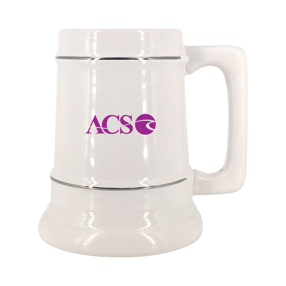 28 oz. White Stein Mug with Platinum Bands Thumbnail