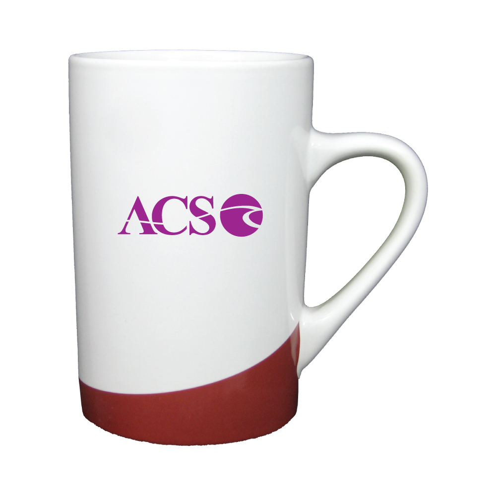 12 oz. White with Burgundy Accent Mug / M10243 Thumbnail
