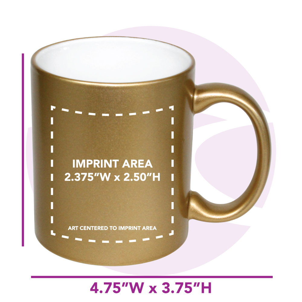 11 oz. White In / Gold Out Lazure C Handle Mug