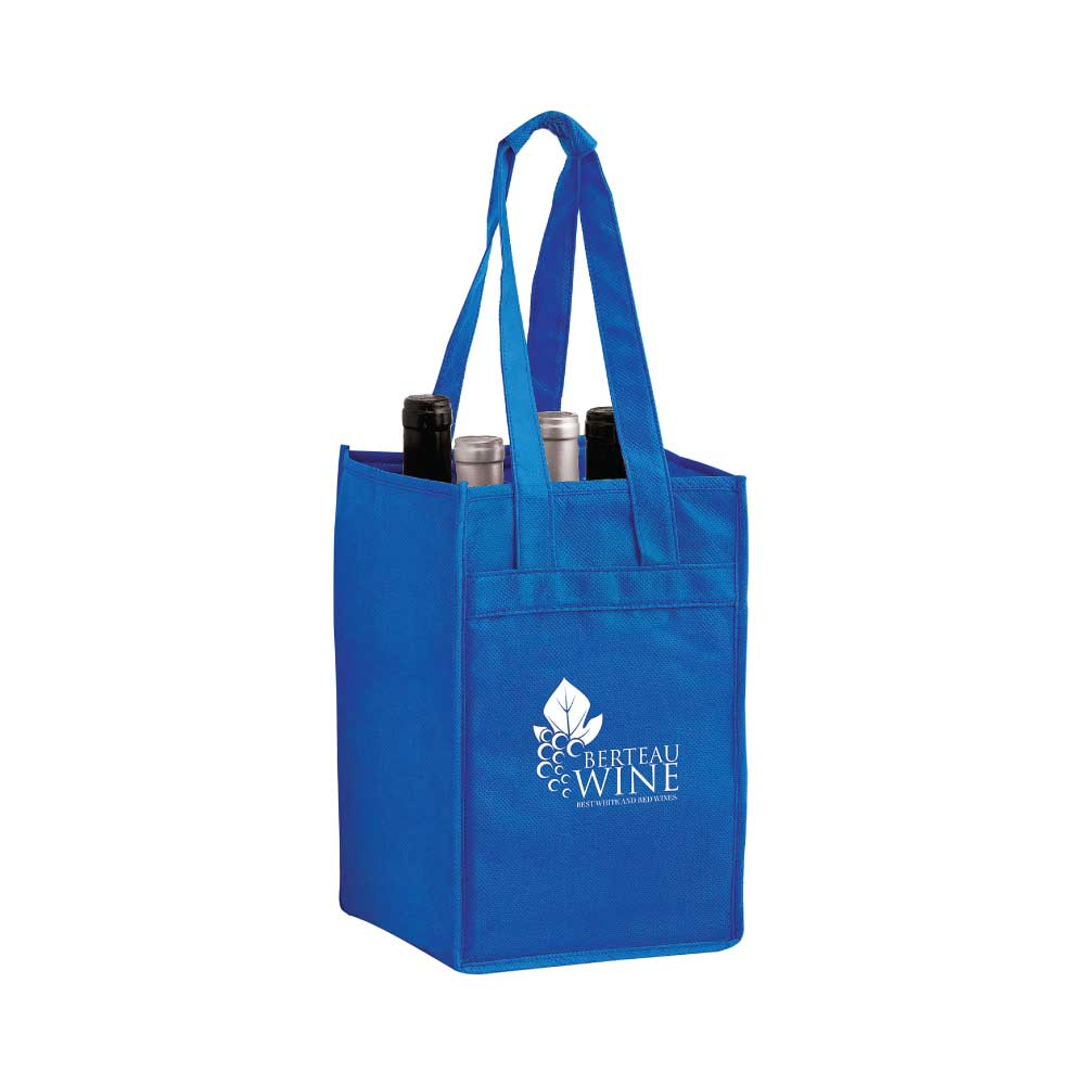 4 Bottle Wine Bag - Single Color Imprint