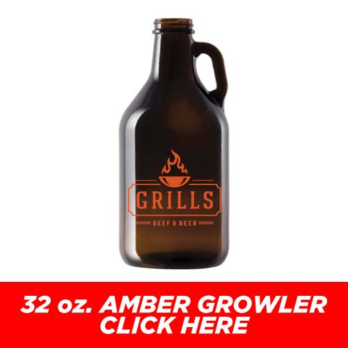Low Price and Quick Turnaround 32 oz. Amber Growler