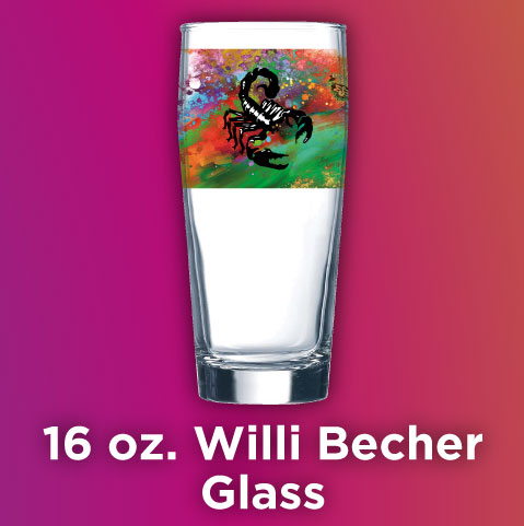 Full Color Printed 16 oz. Willi Becher Beer Glass