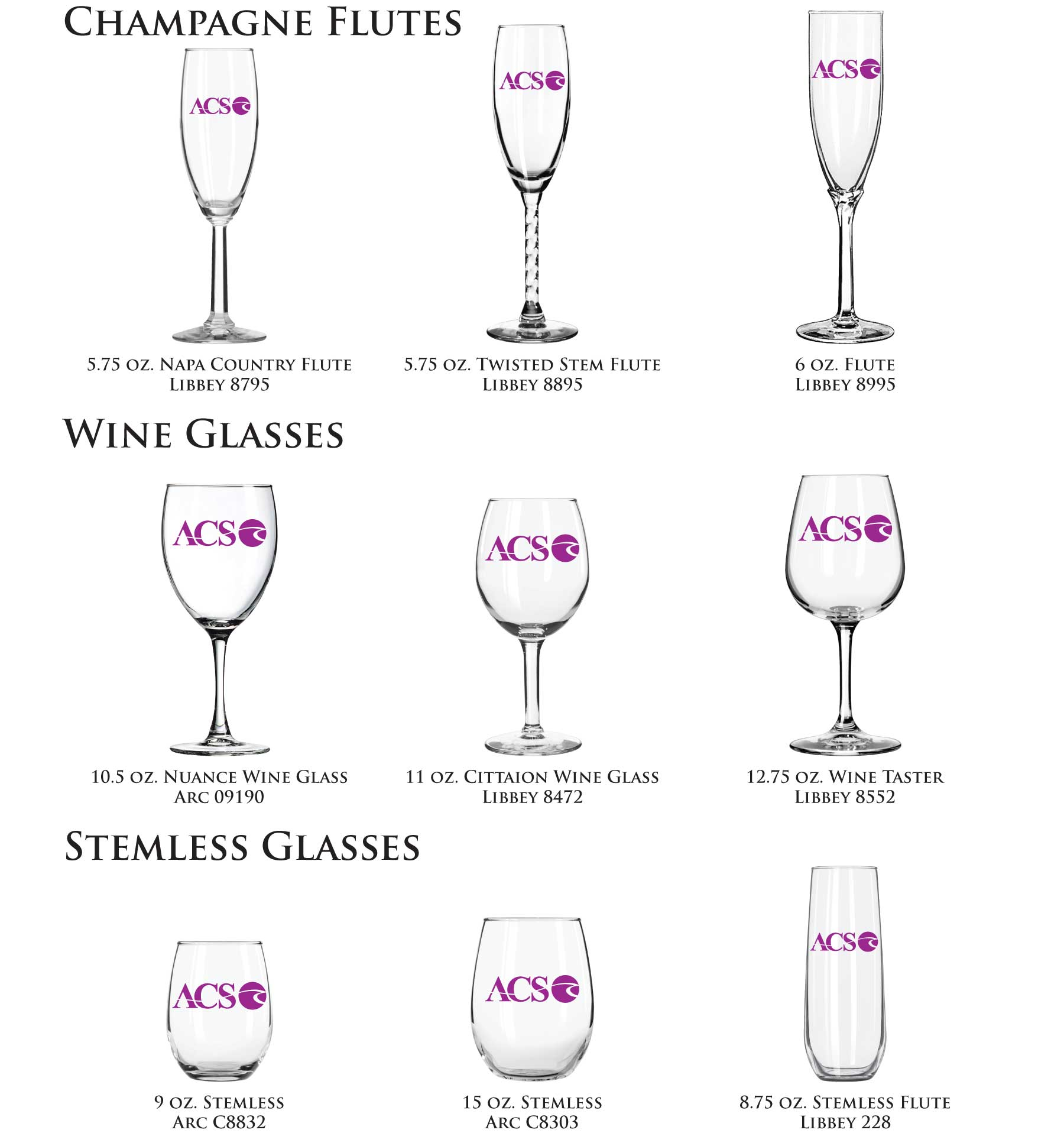Wedding Champagne Flutes, Wedding Wine Glasses, Wedding Stemless Glasses